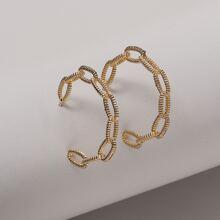 Chain Design Cuff Hoop Earrings