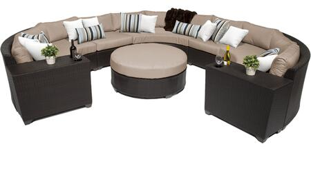 Barbados BARBADOS-08g-WHEAT 8-Piece Wicker Patio Set 08g with with 5PC Curced Sectional  2 Cup Tables and 1 Coffee Table - 2 Wheat