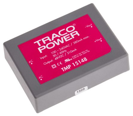 TRACOPOWER , 15W Embedded Switch Mode Power Supply SMPS, 48V dc, Encapsulated
