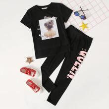 T-Shirt mit Buchstaben und Figur Muster & Leggings Set