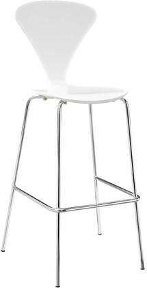 Passage Collection EEI-2674-WHI Dining Bar Stool with Chrome Legs And Footrest  Waterfall Seat  Non-Marking Plastic Foot Caps  V-Shaped Back and