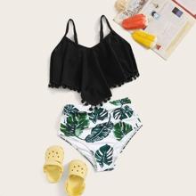Maedchen Top und Bikini mit Pflanzen Muster