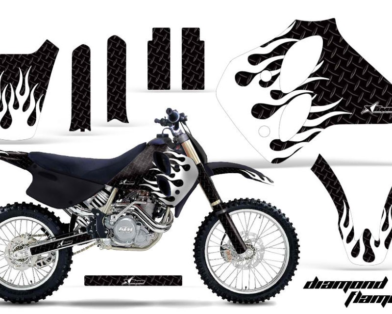 AMR Racing Dirt Bike Graphics Kit Decal Sticker Wrap For KTM SX/XC/EXC/LC4 1993-1997áDIAMOND FLAMES WHITE BLACK