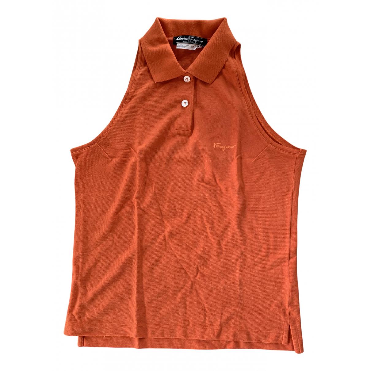 Salvatore Ferragamo - Top   pour femme en coton - orange