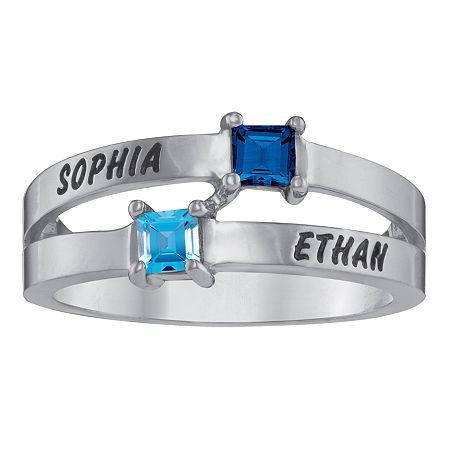 Personalized Engraved Split Shank Birthstone Ring, 8 , White