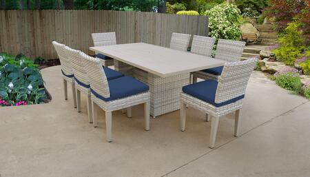 Fairmont Collection FAIRMONT-DTREC-KIT-8C-NAVY Patio Dining Set With 1 Table  8 Side Chairs - Beige and Navy