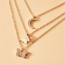 Butterfly Charm Layered Necklace