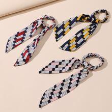 3 piezas pañuelo goma de pelo de color combinado