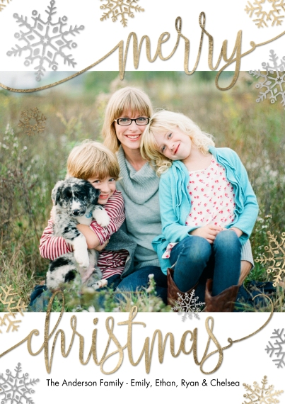 Christmas Photo Cards 5x7 Cards, Premium Cardstock 120lb, Card & Stationery -Christmas Merry Script Snowflakes