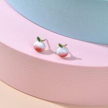 Girls Peach Design Stud Earrings