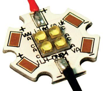 Intelligent LED Solutions ILS ILH-OW04-HWWH-SC211-WIR200., OSLON 150 4+ PowerStar Circular LED Array, 4 White LED (2700K)