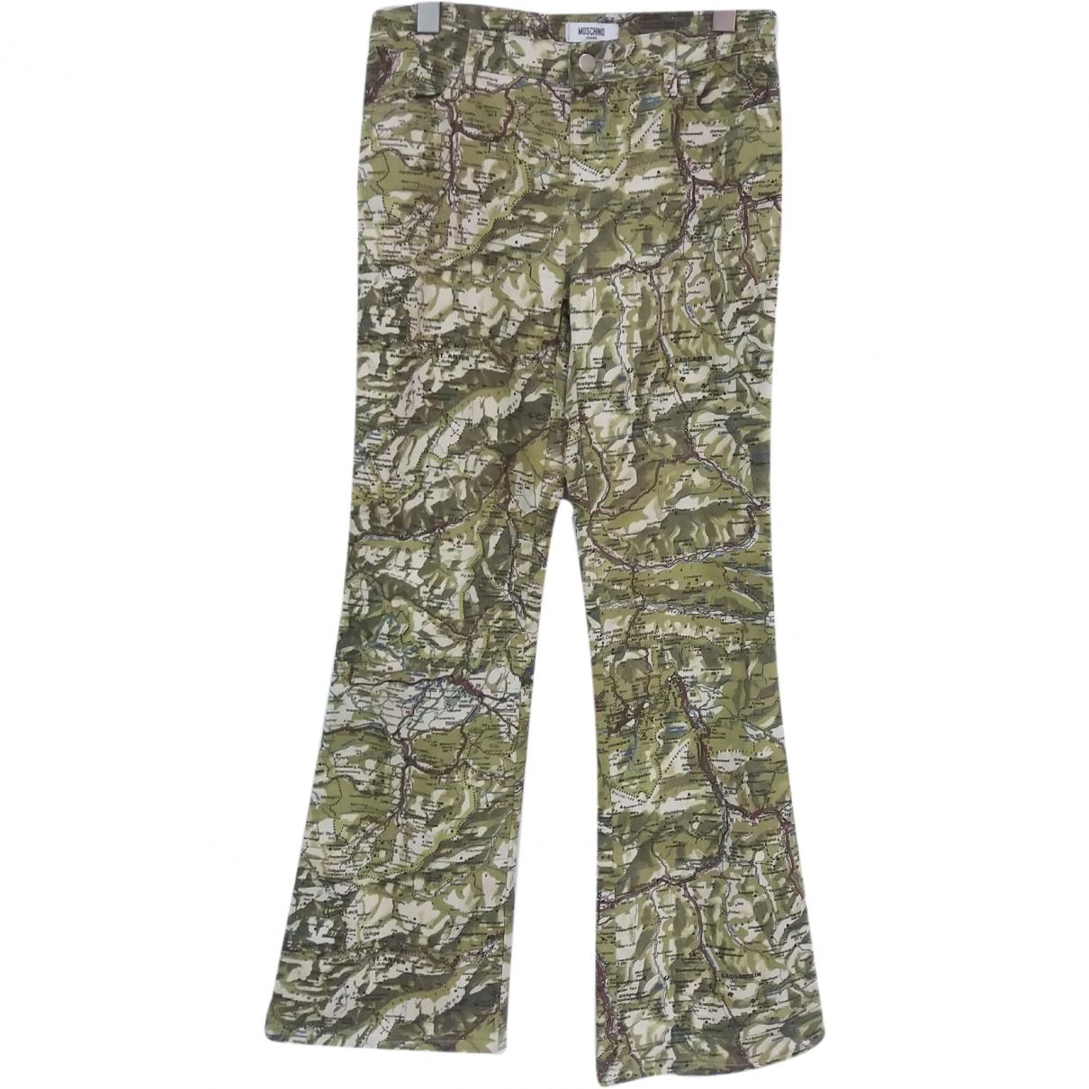 Pantalon en Algodon Verde Moschino Love