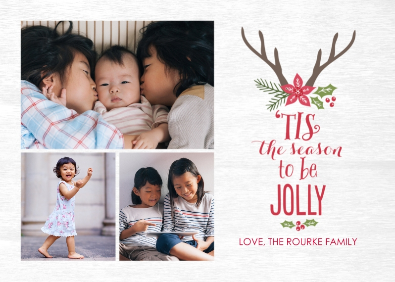 Christmas Photo Cards 5x7 Cards, Premium Cardstock 120lb with Scalloped Corners, Card & Stationery -Season of Jolly