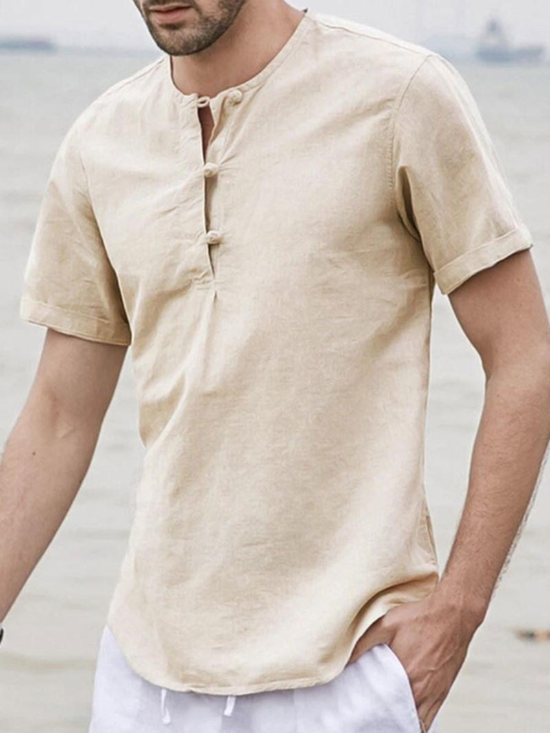 Ericdress Round Neck England Plain Loose Summer Shirt