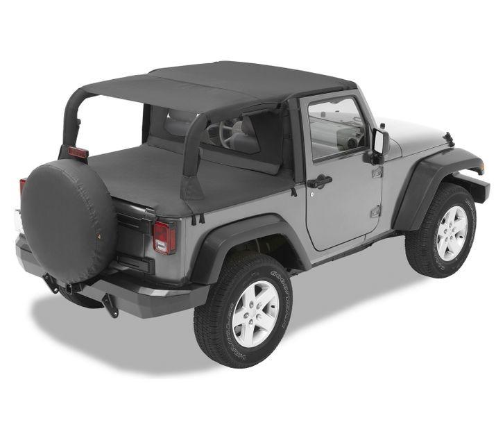 Bestop 52585-35 Black Diamond Header Extended Safari Style Bikini Top Jeep Wrangler 2-Door 2007-2009