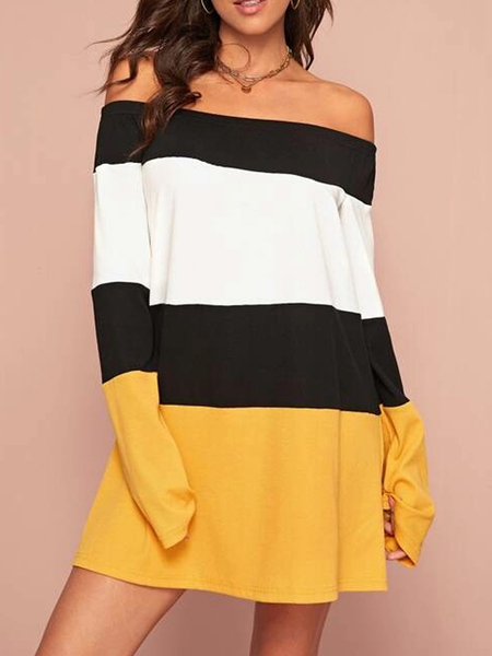 YOINS Multicolor Elastic Strap Patchwork Off The Shoulder Long Sleeves Dress