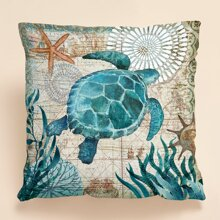 Turtle Print Cushion Cover Without Filler