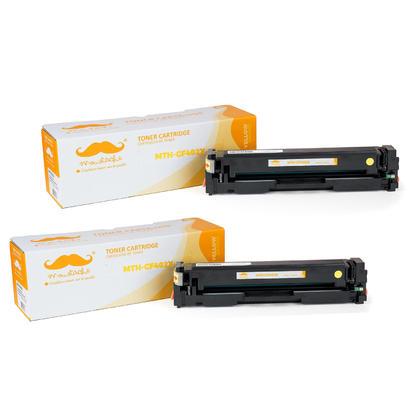 Compatible HP 201X CF402X Yellow Toner Cartridge High Yield - Moustache - 2/Pack