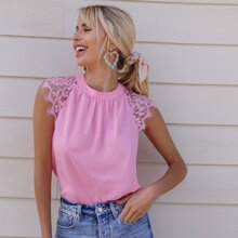 Tie Back Lace Insert Solid Top