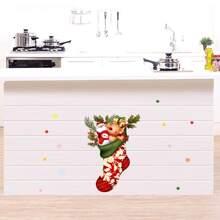 Pegatina de pared con estampado de dibujos animados de navidad