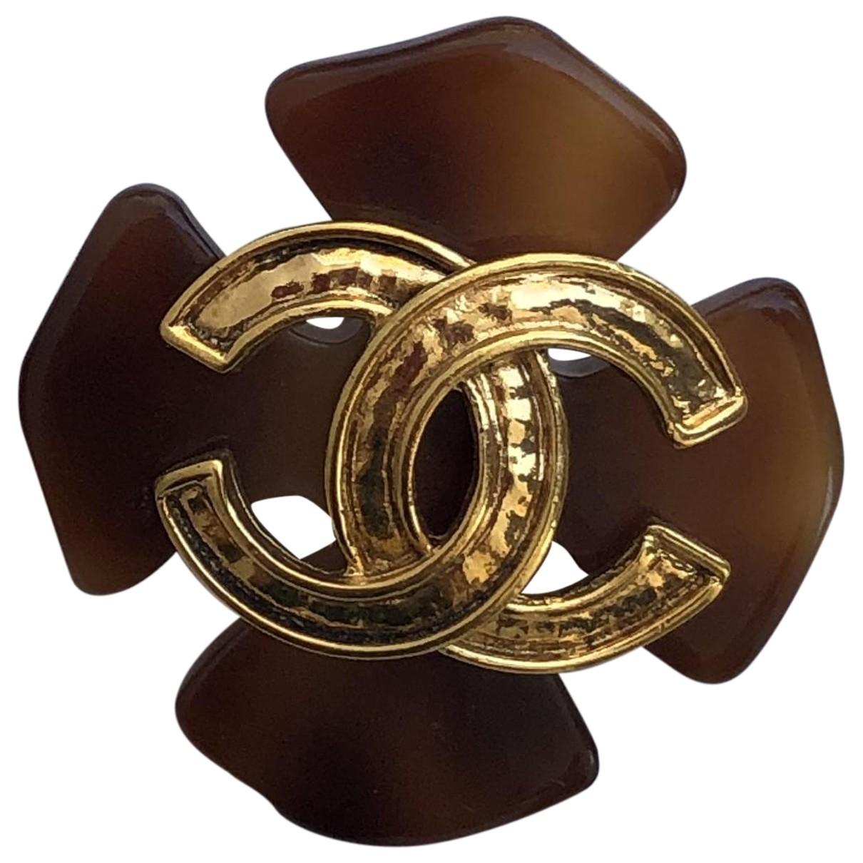 Chanel CC OhrRing in  Braun Metall