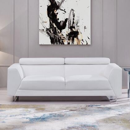 U8210 PLUTO White Chaviano Low Profile Pearl White Tufted Sofa with Chrome Feet in Pluto White