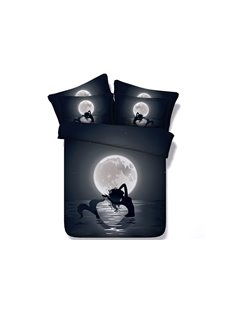 Mermaid in the Moonlight Printed Cotton 4-Piece 3D Black Bedding Sets/Duvet Covers