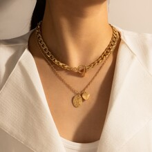 Heart & Coin Layered Chain Necklace