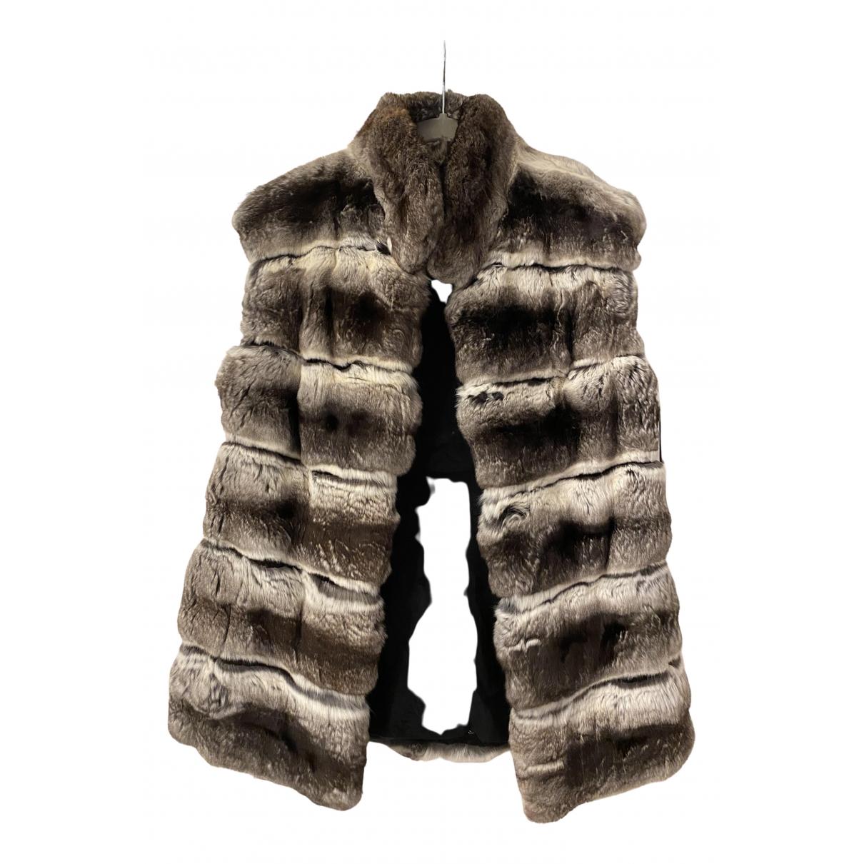 - Veste   pour femme en chinchilla - gris