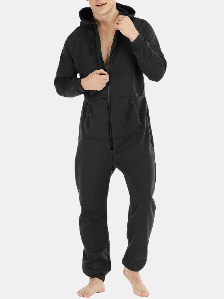 Men Thicken Cotton Loungewear Jumpsuit Pockets Zip Down Plain Hooded Onesies Pajamas