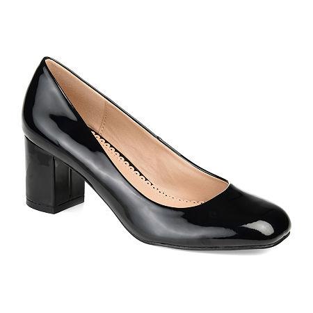 Journee Collection Womens Miranda Pumps Block Heel, 7 1/2 Medium, Black