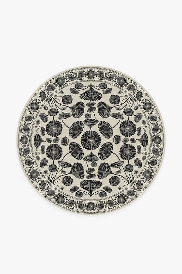 Washable Rug Cover & Pad | Cynthia Rowley Suzani White Rug | Stain-Resistant | Ruggable | 6' Round