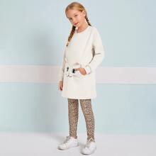 Conjunto pullover con bolsillo con leggings de leopardo