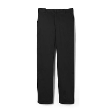 French Toast Big Boys Straight Flat Front Pant, 18 , Black