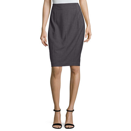 Worthington High Waisted Essential Suiting Pencil Skirt, 2 Petite , Gray