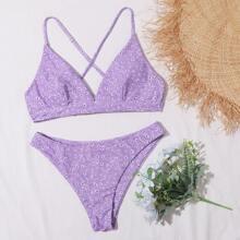 Bikini Badeanzug mit Bluemchen Muster und Kreuzgurt