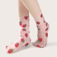 Strawberry Pattern Mesh Socks