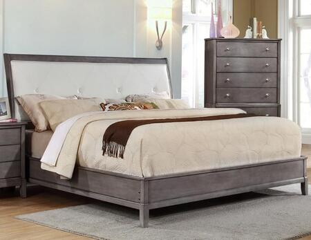 Desby Collection DE720Q Queen Bed with Faux Leather Upholstered Headboard  Button Tufting  Piped Stitching  Molding Detail  Tropical Hardwood and