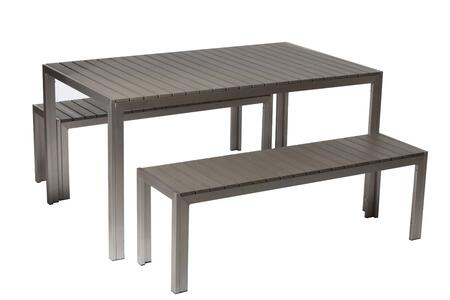 BM172059 Anodized Aluminum Table And Bench Set In Gray (Set of