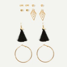 Hoop & Tassel Drop Earrings 6pairs