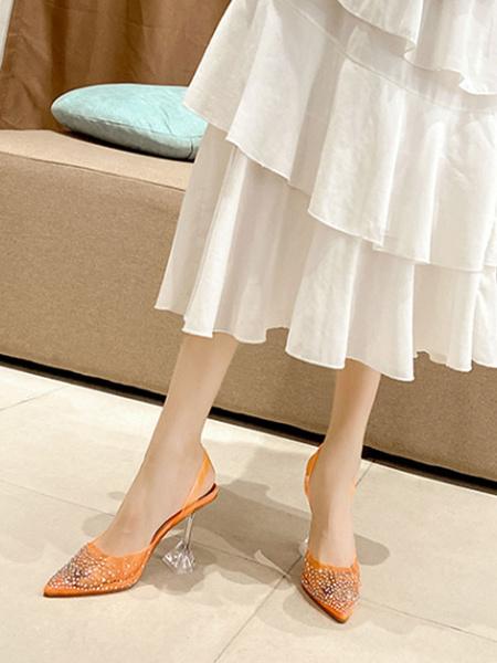 Milanoo Women's High Heels Sandals Pointed Toe Transparente Goblet Heel Rhinestones Chic Transparent Sandals
