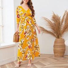 Umstandsmode Kleid mit V-Kragen, Selbstband, Falten und Blumen Muster