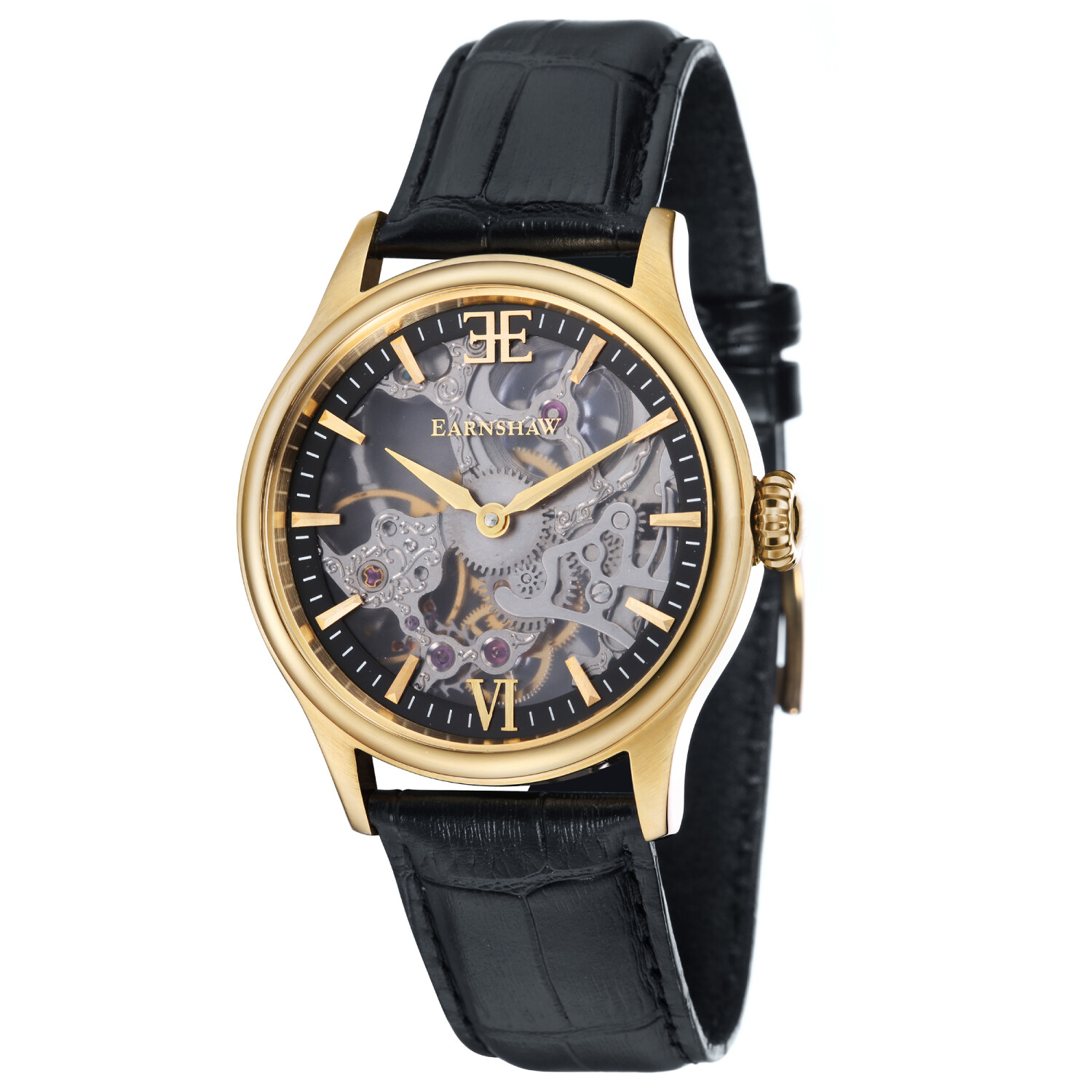 Thomas Earnshaw Men's Bauer Shadow Skeleton Mechanical ES-8061-03 Black Leather Hand Wind Fashion Watch