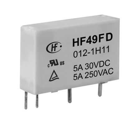 Hongfa Europe GMBH , 24V dc Coil Non-Latching Relay SPNO, 5A Switching Current PCB Mount Single Pole (2)