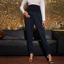 Maternity Hose mit breitem Taillenband und Rueschenbesatz