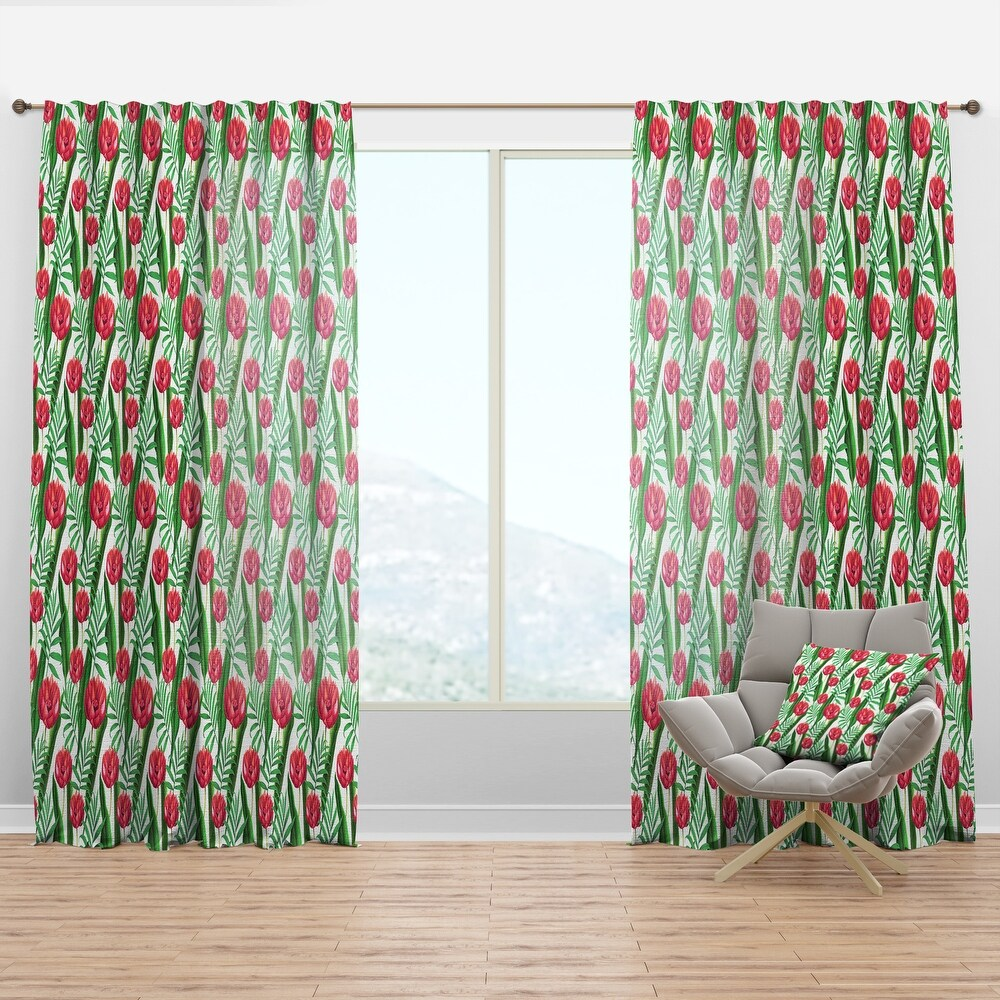 Designart 'Red Tropical Flowers' Floral Curtain Panel (50 in. wide x 84 in. high - 1 Panel)
