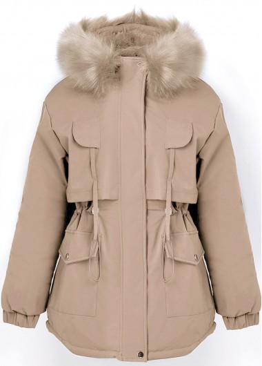 Fur Collar Pocket Drawstring Waist Coat - 2XL