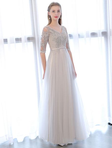 Milanoo Prom Dresses Long Light Gray V Neck Lace Half Sleeve Beading Sash Floor Length Tulle Formal Party Dress