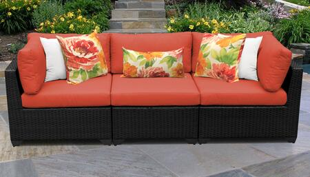 Belle Collection BELLE-03b-TANGERINE 3-PC Patio Sofa with 2 Corner Chairs and 1 Armless Chair - Wheat and Tangerine