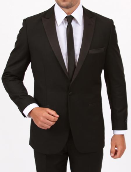 Slim Fit 1 Button Black Tuxedo